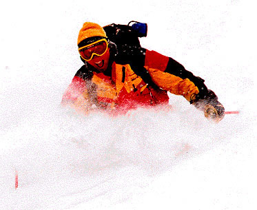 Helene having fun in the powder