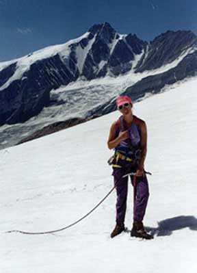 Helene below the Grossglockner, Austria's highest Mountain